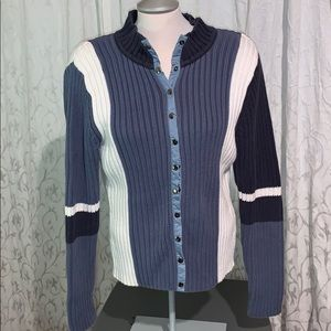 Nice heavy knit sweater blue and white with snaps